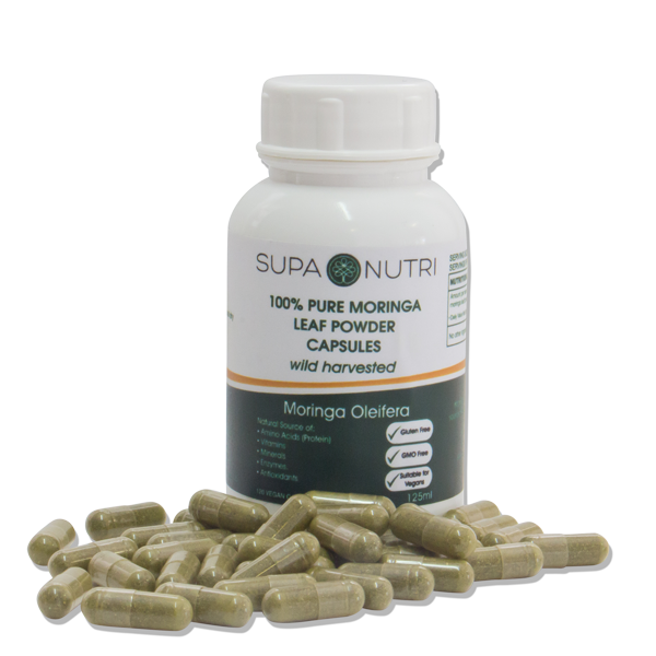Pure African Moringa Leaf Powder Vegan Capsules